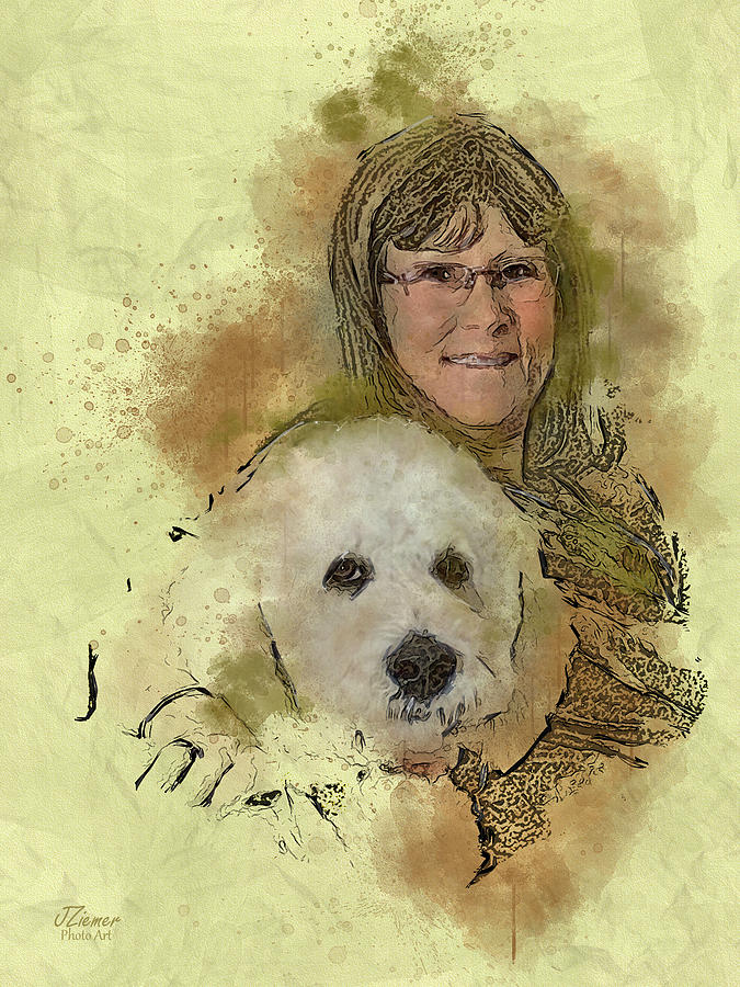 Portrait Photograph - Woman And Dog Portrait Modified by Jim Ziemer