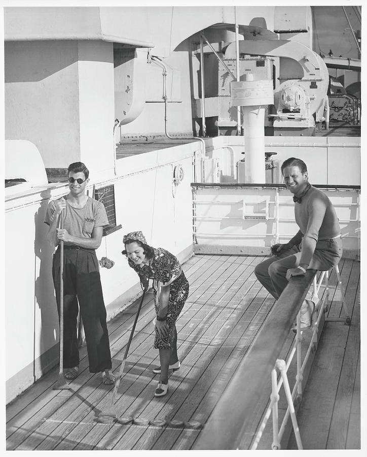 Woman And Two Men On Cruiser Deck, B&w Photograph by George Marks