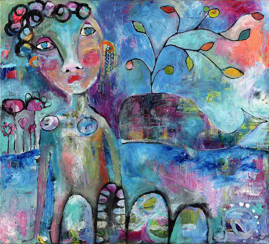 Figurative Painting - Woman and Whale by Susie Lubell