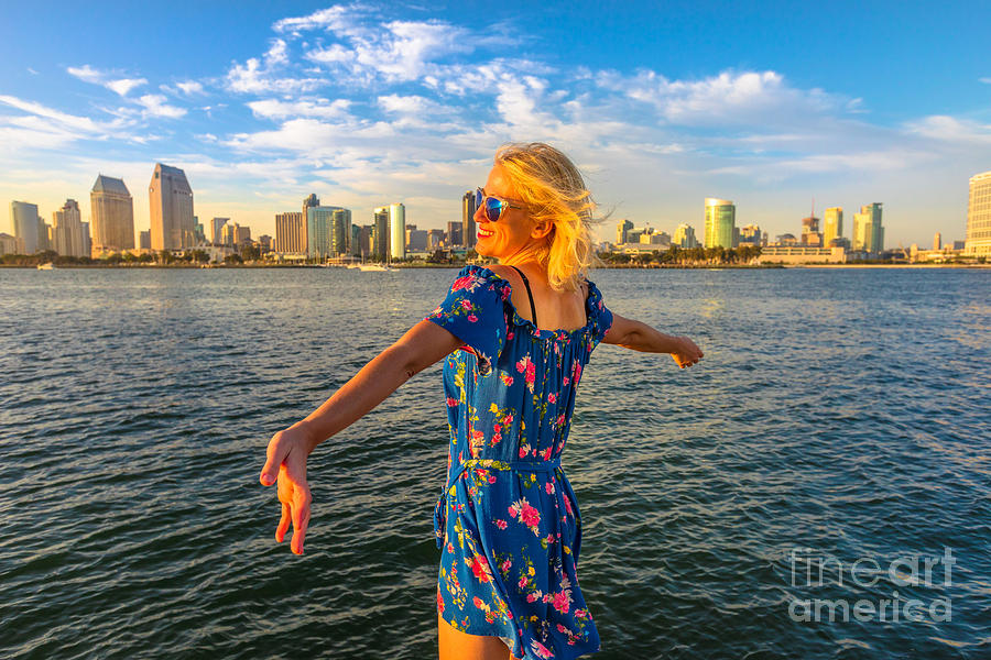 Woman At San Diego skyline by Benny Marty