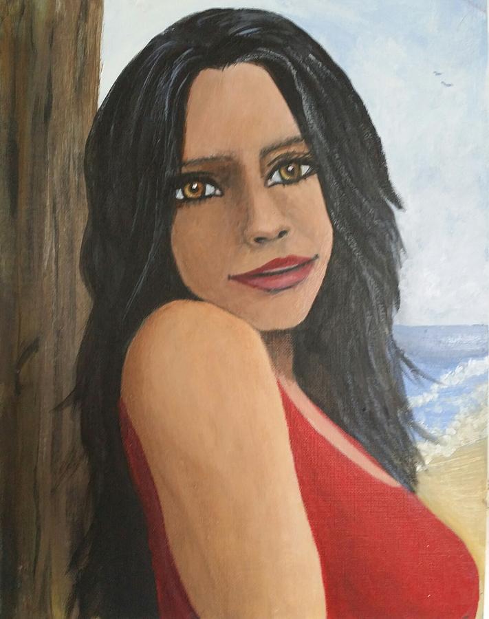 Woman at the Beach by Barbara J Blaisdell