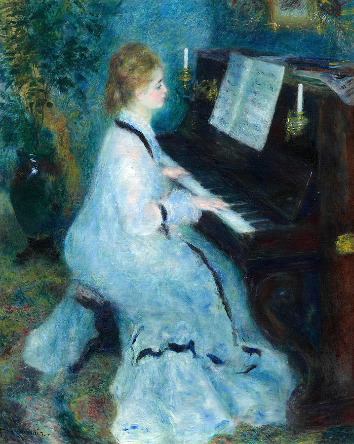 French Painters Painting - Woman At The Piano by Auguste Renoir