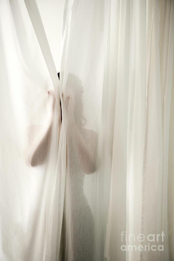 Woman Behind Curtains Photograph by Wealan Pollard