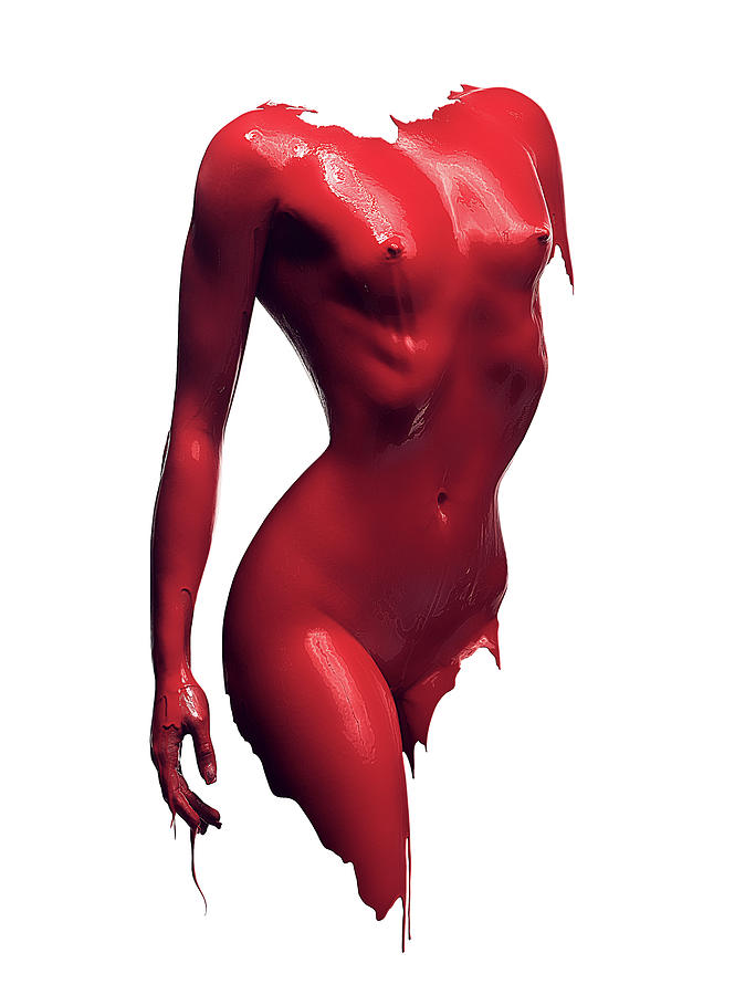 Woman Body Red Paint Photograph