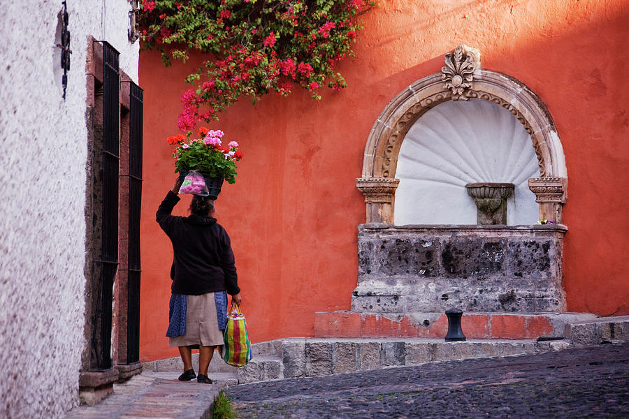 Woman Carrying Flowers On Her Head On Photograph by Pixelchrome Inc