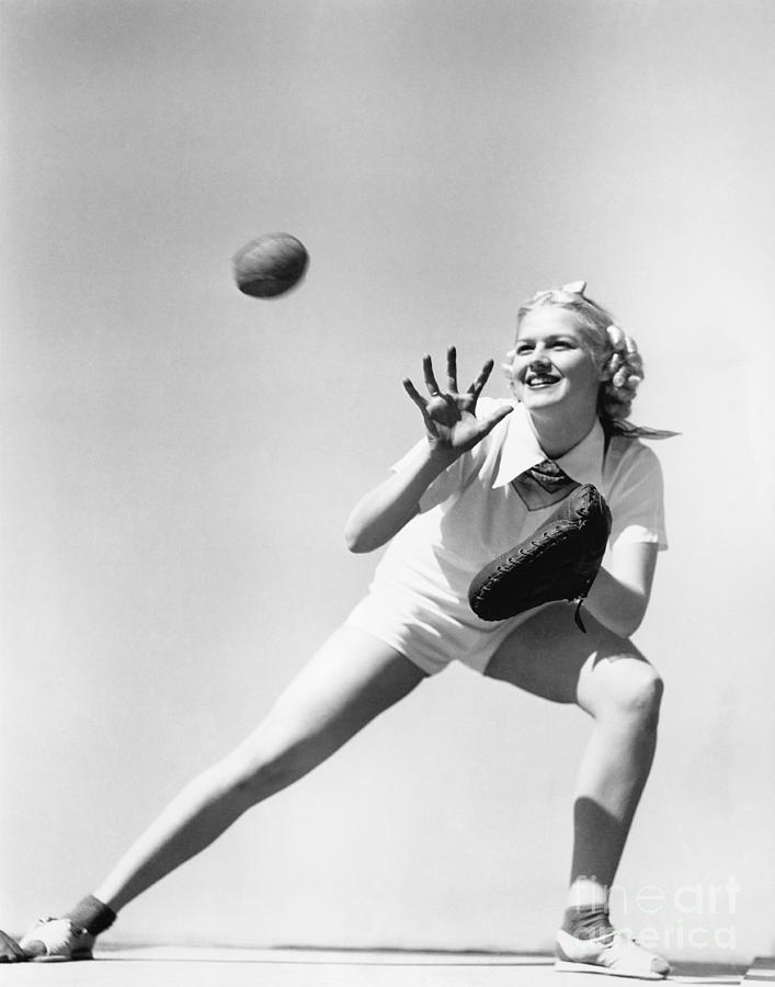 Woman Photograph - Woman Catching A Baseball by Everett Collection