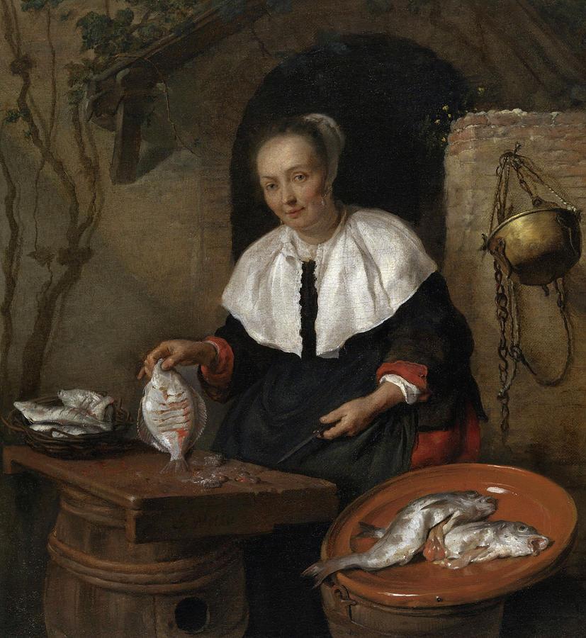 Gabriel Metsu Painting - Woman Cleaning Fish by Gabriel Metsu