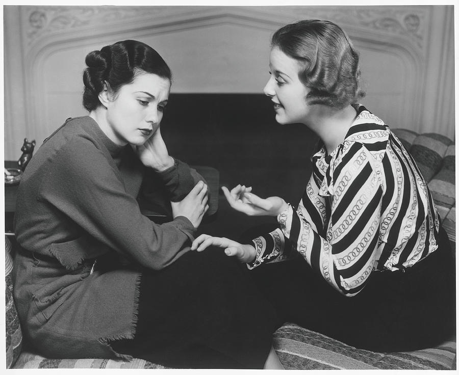 Woman Consoling Friend At Fireplace, B&w Photograph by George Marks