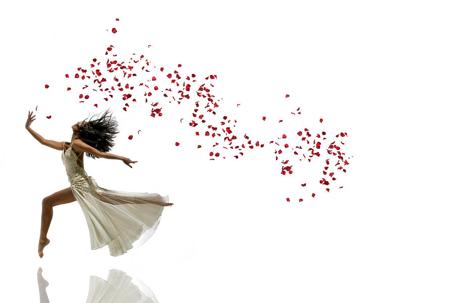Woman Dancing And Jumping With Flowers Photograph by Alfonse Pagano