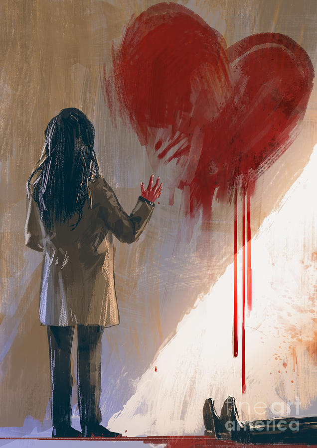 Love Digital Art - Woman Drawing Red Heart With Blood On by Tithi Luadthong