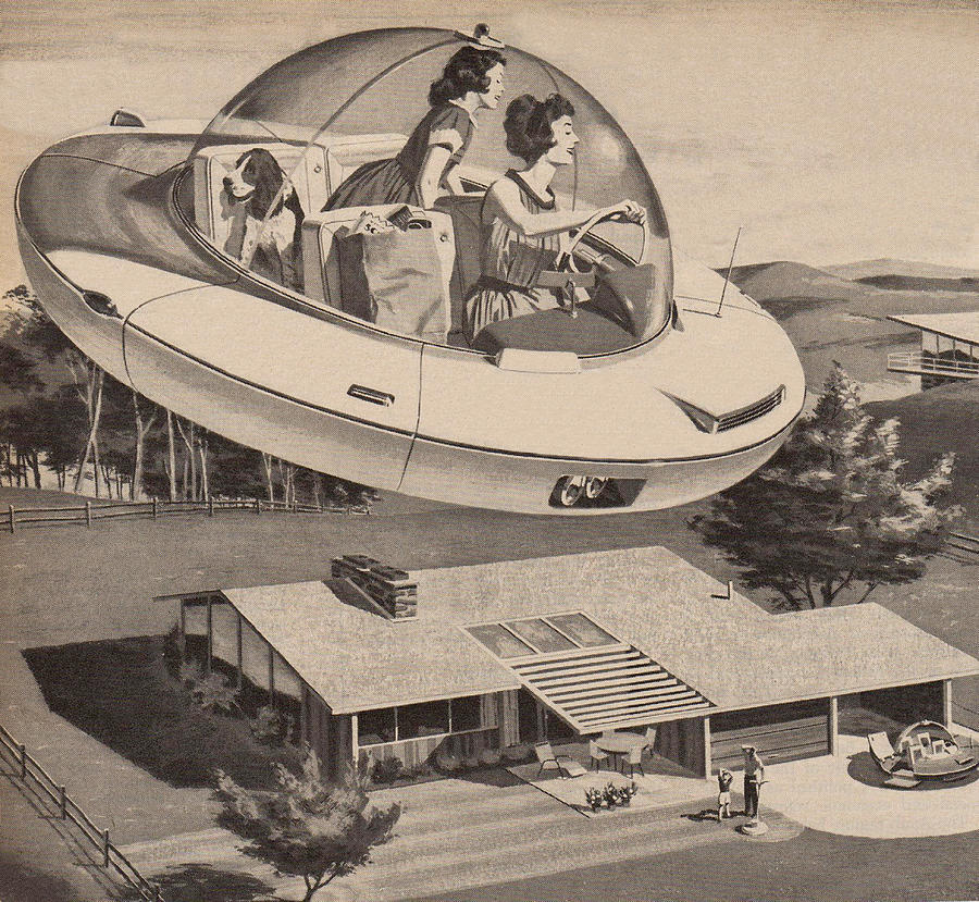 Woman Driving Flying Saucer Photograph by Graphicaartis