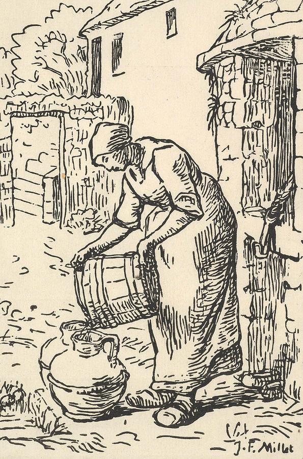 Woman Emptying a Bucket by Jean-Francois Millet