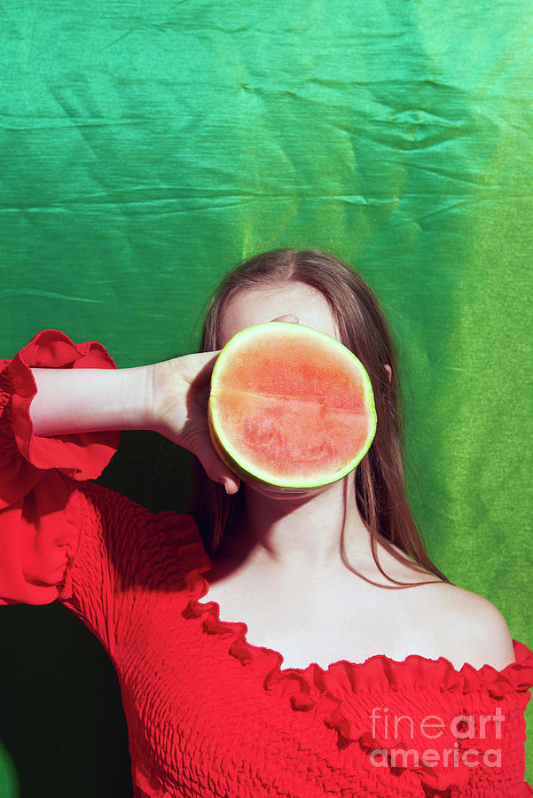 Woman Holding Watermelon In From Of Face Photograph by Tara Moore