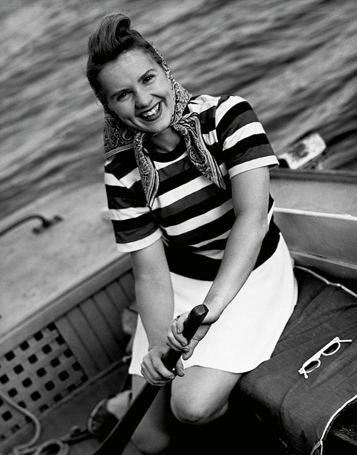 Woman In A Speedboat Photograph by George Marks