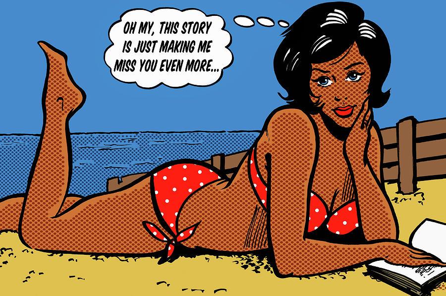 Woman In Bikini Lying On Beach With Digital Art by Jacquie Boyd