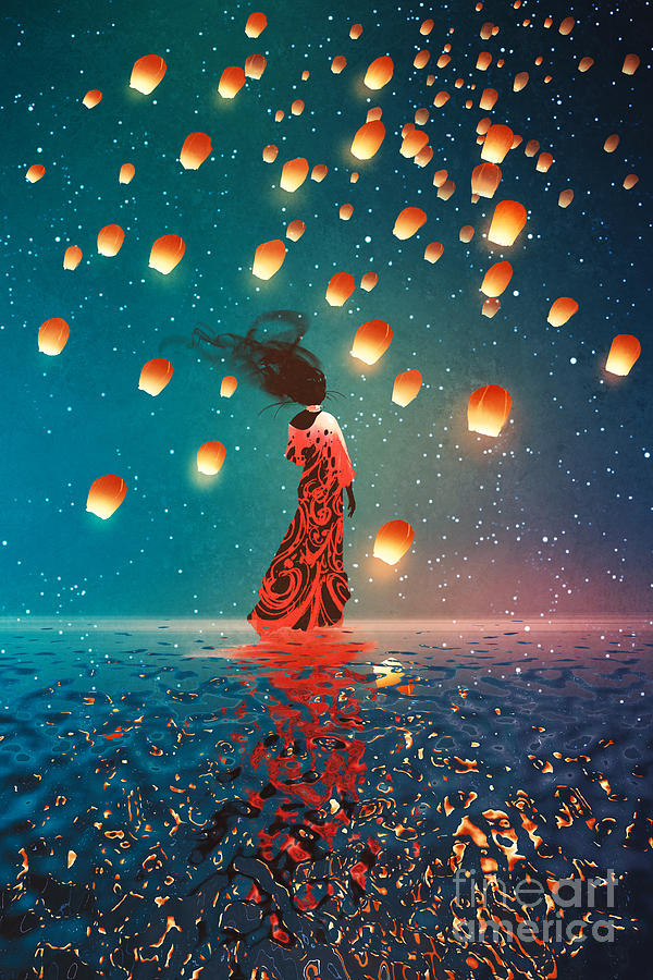 Dress Digital Art - Woman In Dress Standing On Water by Tithi Luadthong