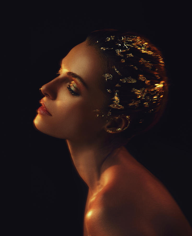 Gold Photograph - Woman in Gold, 2015 by Chris Hunt