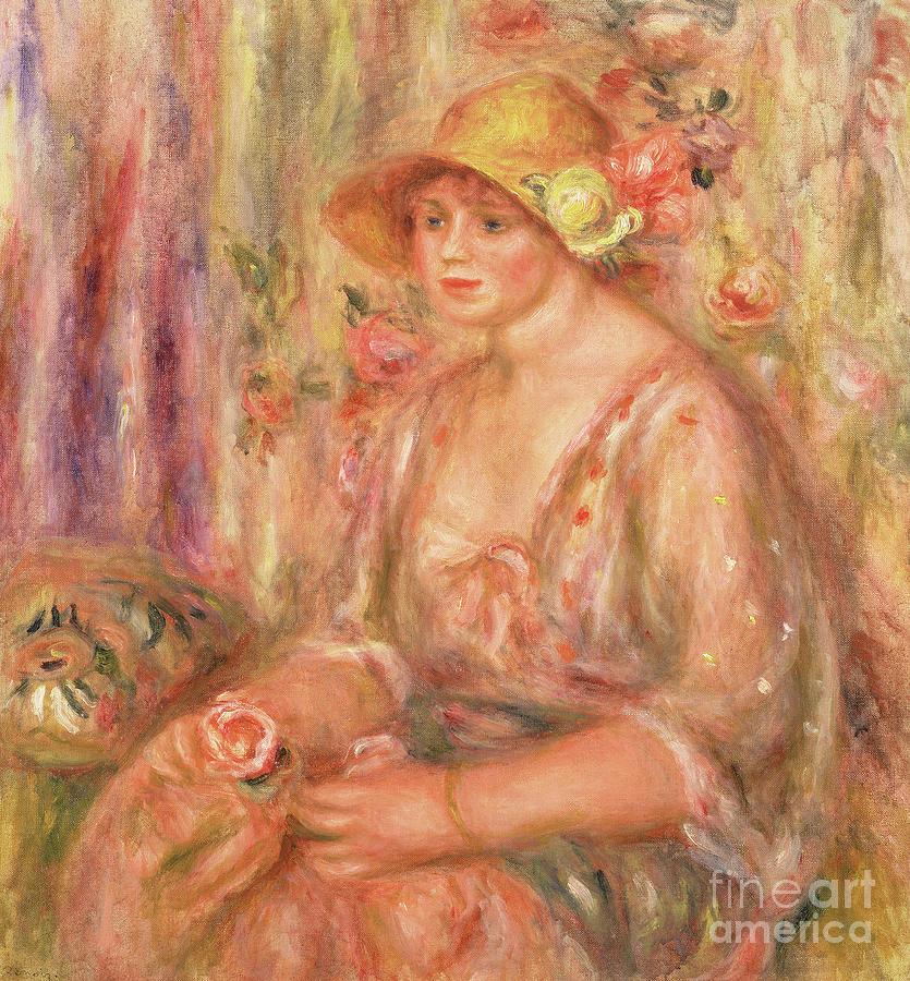 Female Painting - Woman In Muslin Dress, 1917 by Pierre Auguste Renoir
