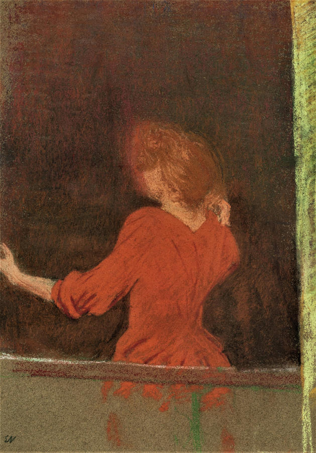 Woman In Red Painting - Woman In Red, Back To The Window - Digital Remastered Edition by Edouard Vuillard