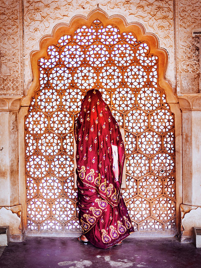 Woman In Sari At Decorated Window Photograph by Rich Jones Photography