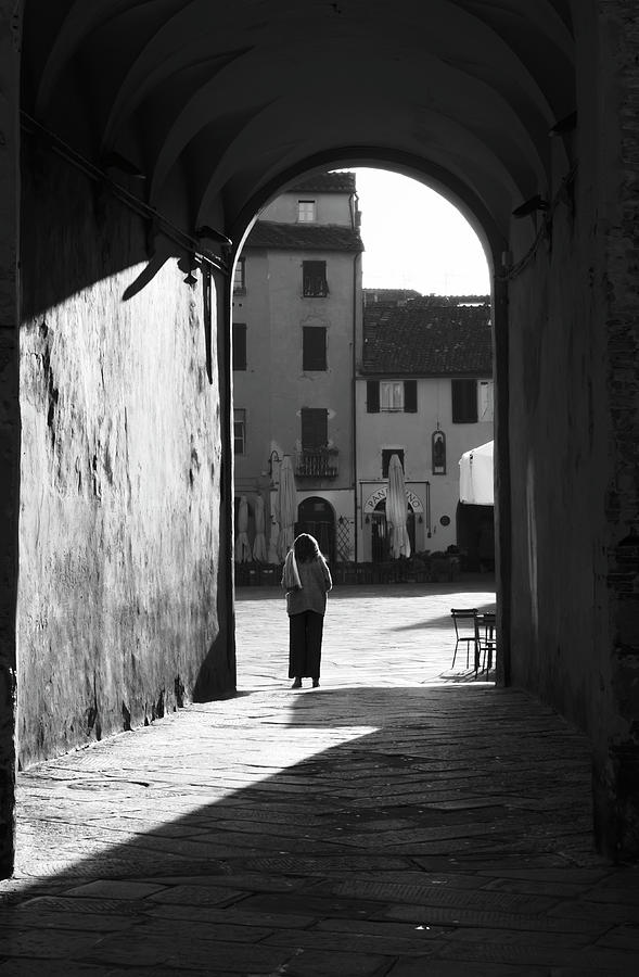Woman in the Arch Lucca Italy by Joan Carroll