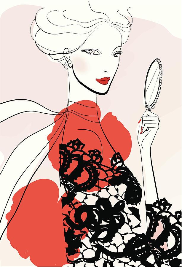 Woman Looking In Handheld Mirror Digital Art by Mcmillan Digital Art
