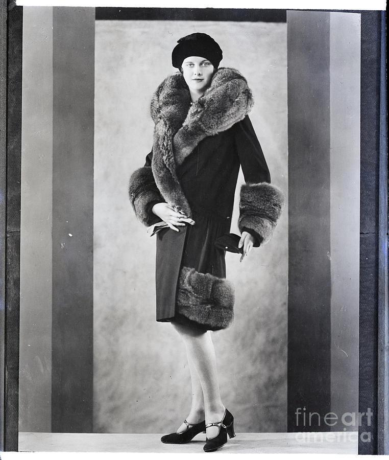 Woman Models Coat W Fur Cuffs, Collar Photograph by Bettmann