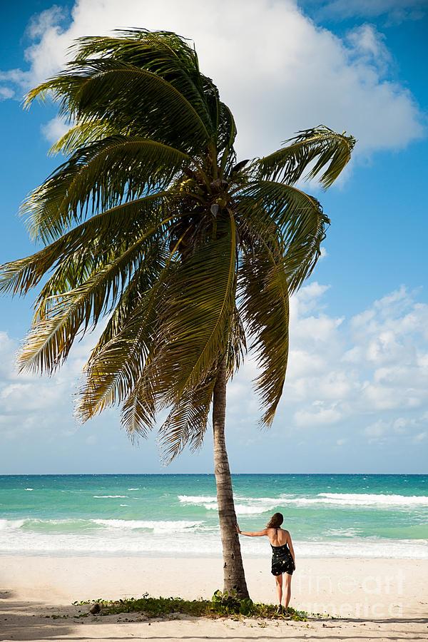 Woman Photograph - Woman Observing Caribbean Sea On Sandy by Samo Trebizan
