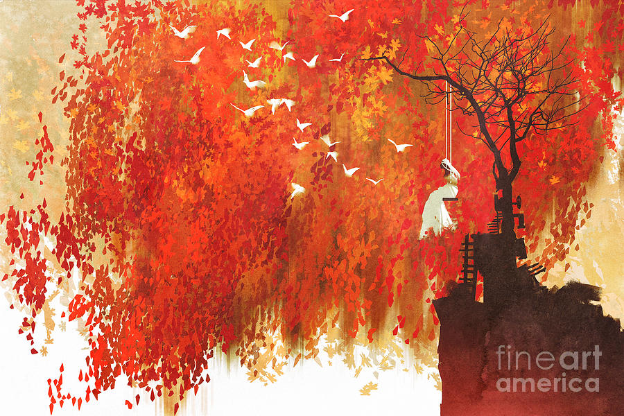 Bride Digital Art - Woman On A Swing Under Autumn by Tithi Luadthong