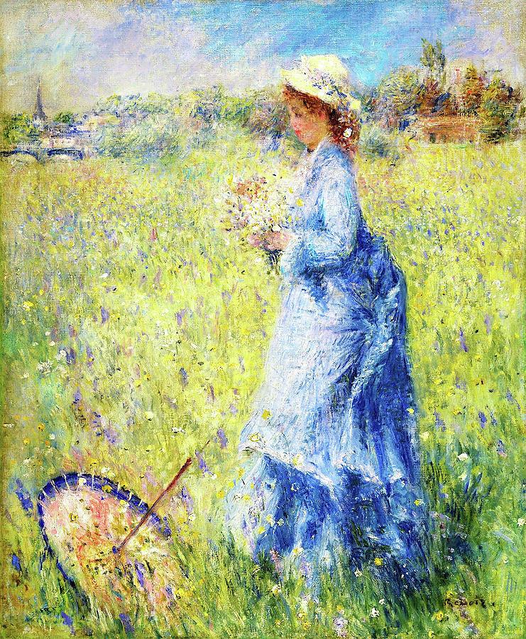 Pierre-auguste Renoir Painting - Woman Picking Flowers - Digital Remastered Edition by Pierre-Auguste Renoir