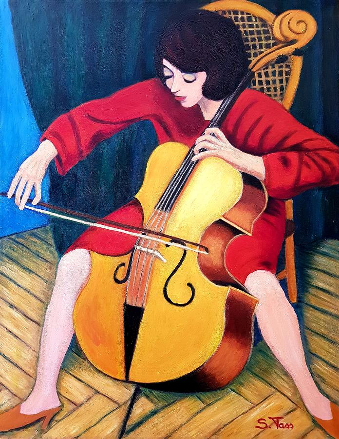 Figure Painting - Woman Playing Cello - Bereny Robert Study by Sylvia Tass