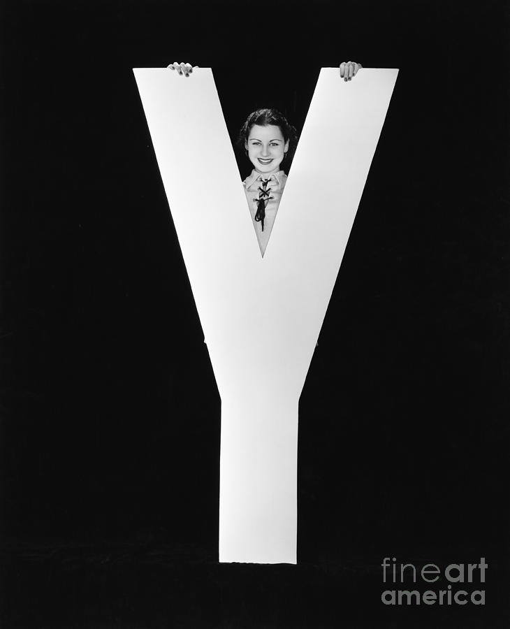 Testimonial Photograph - Woman Posing Behind Huge Letter Y by Everett Collection
