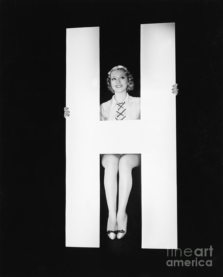 Big Photograph - Woman Posing With Huge Letter H by Everett Collection