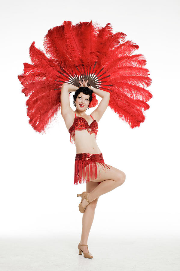 Woman Posing With Red Feathers Photograph by Allison Michael Orenstein