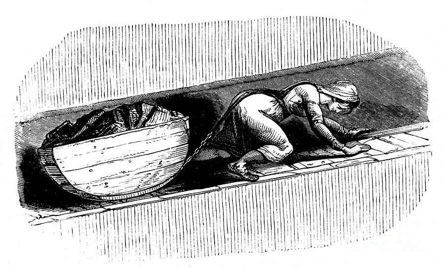 Woman Putter Dragging A Sledge Of Coal Drawing by Print Collector