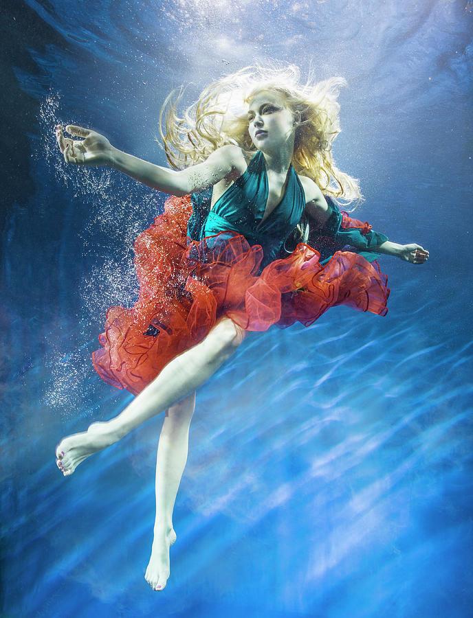 Woman Reaching Underwater Photograph by Zena Holloway
