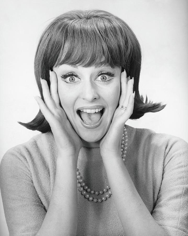Woman Shouting In Studio, B&w, Portrait Photograph by George Marks