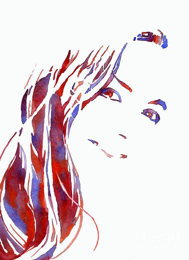 Woman Smiling.  Fine art watercolor of woman smiling.   Fashion  by Ryan Fox