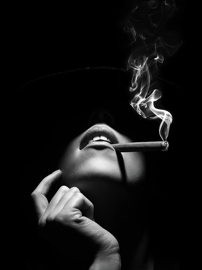 Woman Photograph - Woman smoking a cigar by Johan Swanepoel