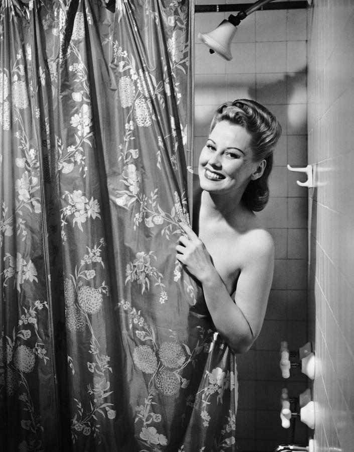 Woman Taking Shower Photograph by George Marks