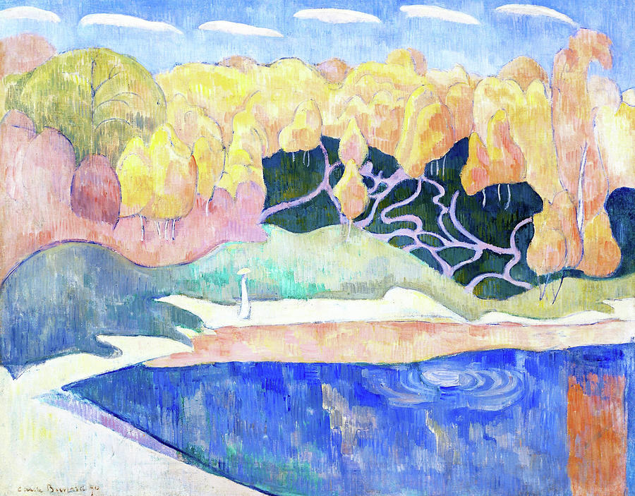 Emile Bernard Painting - Woman Walking On The Banks Of The Aven - Digital Remastered Edition by Emile Bernard