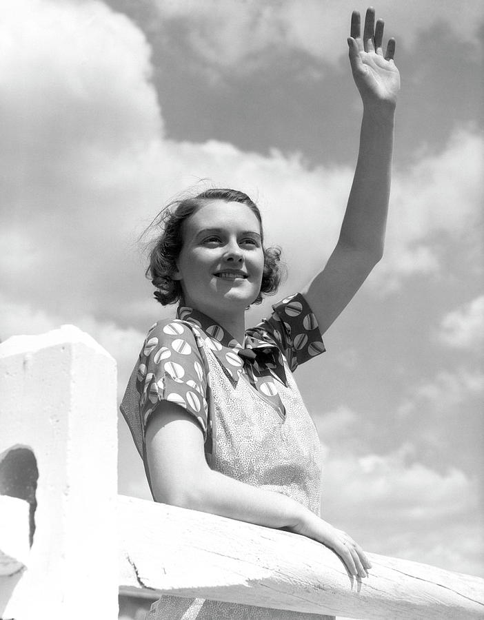 Woman Waving Fence Farmer Farm Wife Photograph by H. Armstrong Roberts