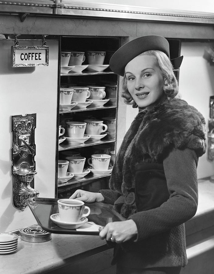 Woman Wcoffee On Tray Photograph by George Marks