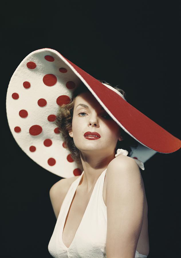 Woman Wearing Large Spotted Hat Photograph by Tom Kelley Archive