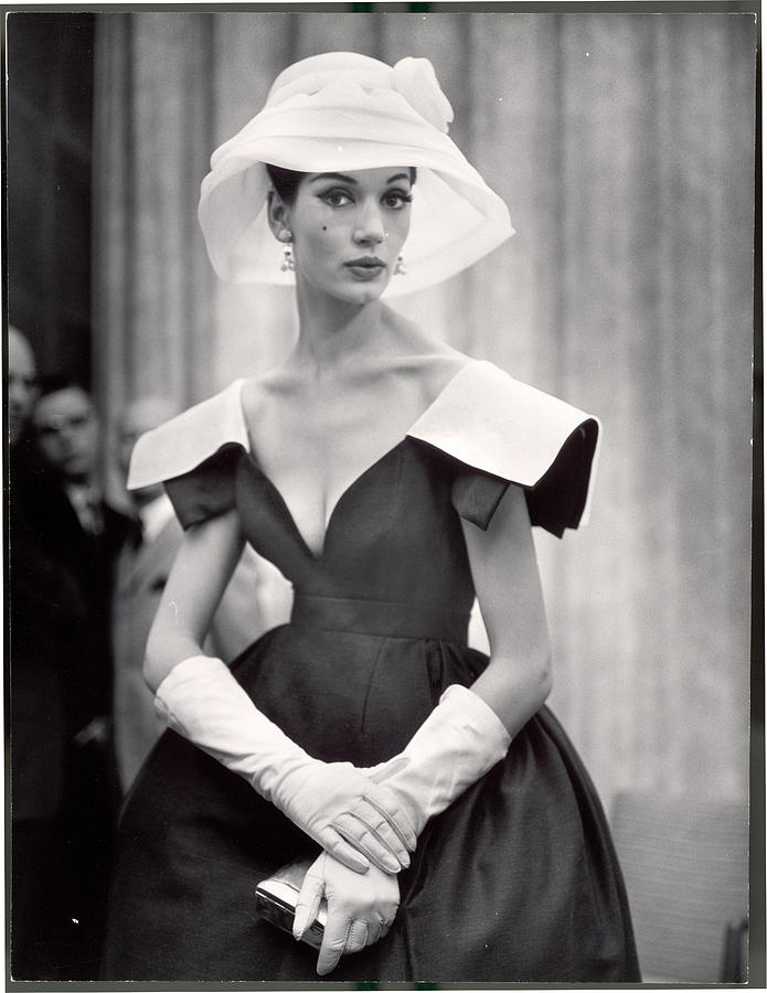 Woman Wearing Wide Shoulder Fashion Photograph by Nina Leen