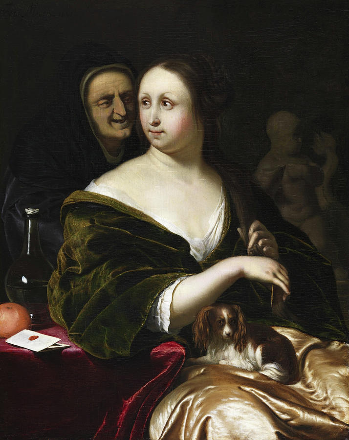 Frans Van Mieris Painting - Woman With A Lapdog, Accompanied By A Maidservant by Frans van Mieris