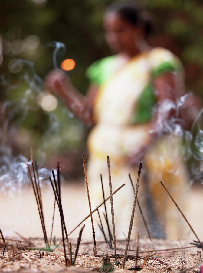 Woman With An Incense Offering At The Photograph by Cultura Exclusive/philip Lee Harvey