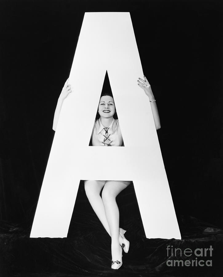 Big Photograph - Woman With Huge Letter A by Everett Collection