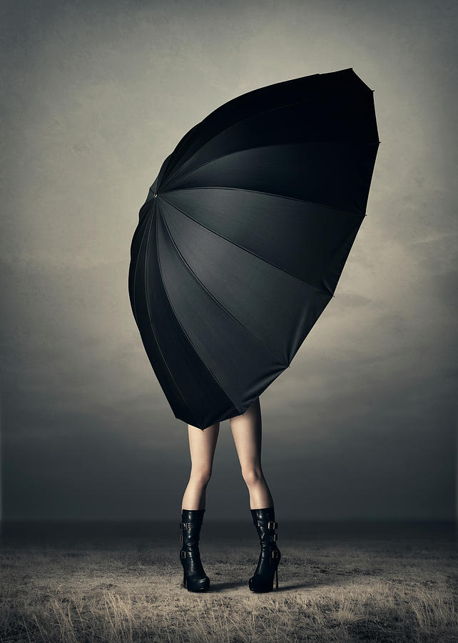 Woman With Huge Umbrella Photograph
