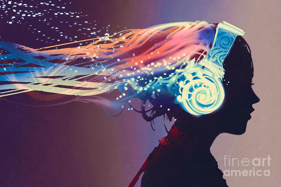 Magic Digital Art - Woman With Magic Glowing Headphones by Tithi Luadthong